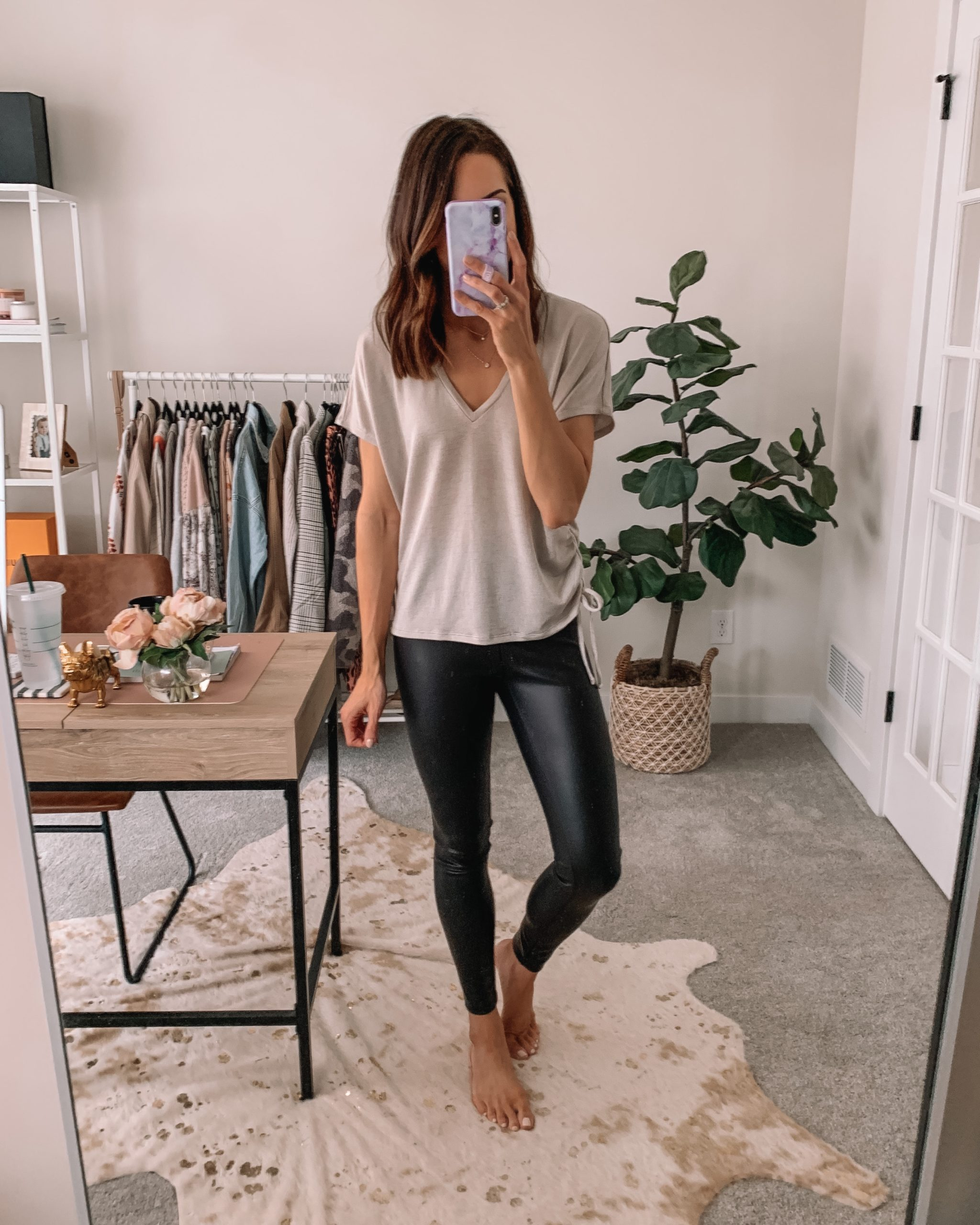 cute wfh looks, work from home outfit, comfortable, express, faux leather leggings outfit