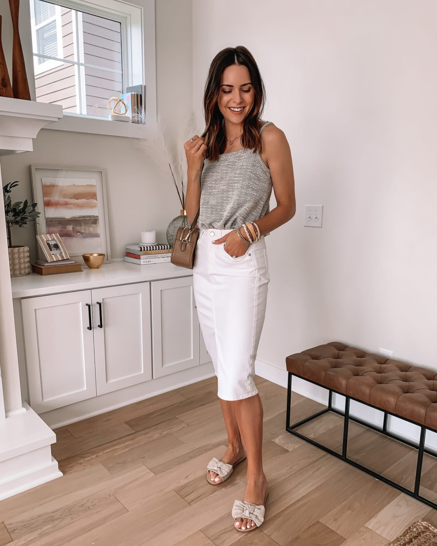 loft spring sale, white denim skirt, midi skirt, neutral spring outfit, summer outfit, white jean skirt