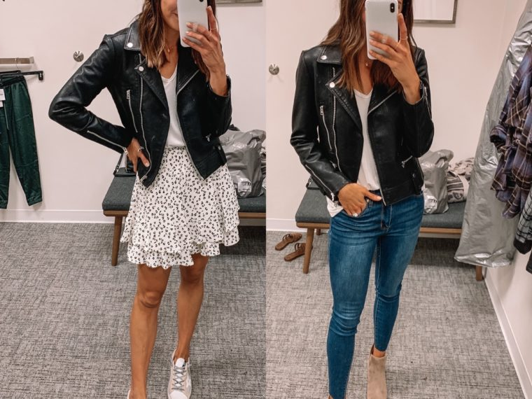 nsale 2020, Nordstrom anniversary sale, nsale try on, Tyron, Topshop faux leather Moto jacket, street style