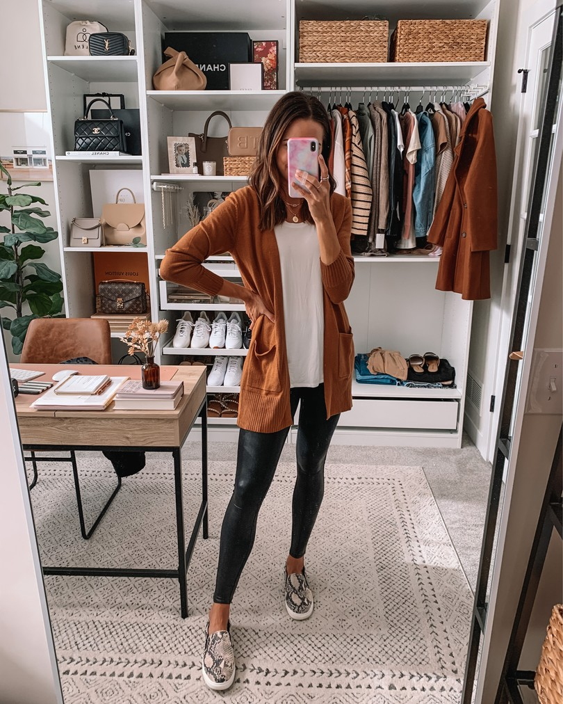 old navy haul 2020, fall old navy finds, camel cardigan, faux leather leggings outfit