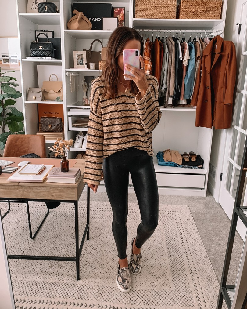 old navy haul 2020, fall old navy finds, Spanx faux leather leggings outfit