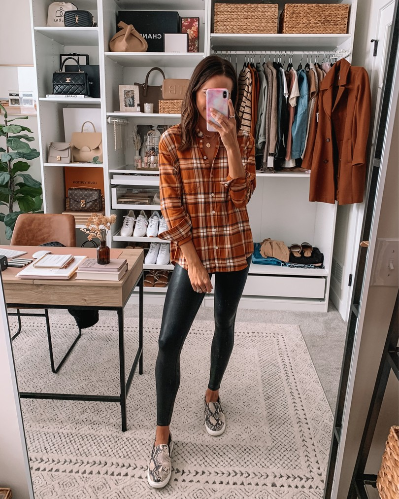 old navy haul 2020, fall old navy finds, faux leather leggings outfit, plaid flannel outfits
