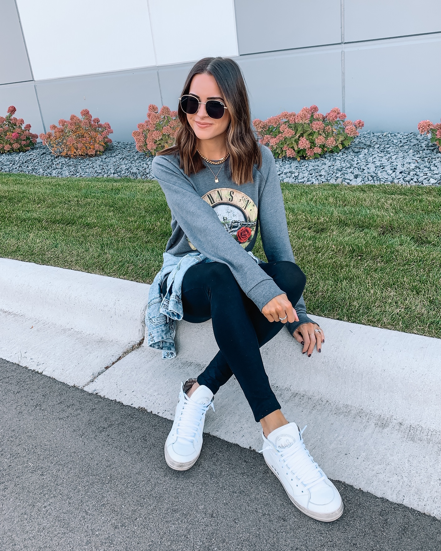 nordstrom fall favorites, fall fashion, under $100, band graphic sweatshirt, high-top sneakers