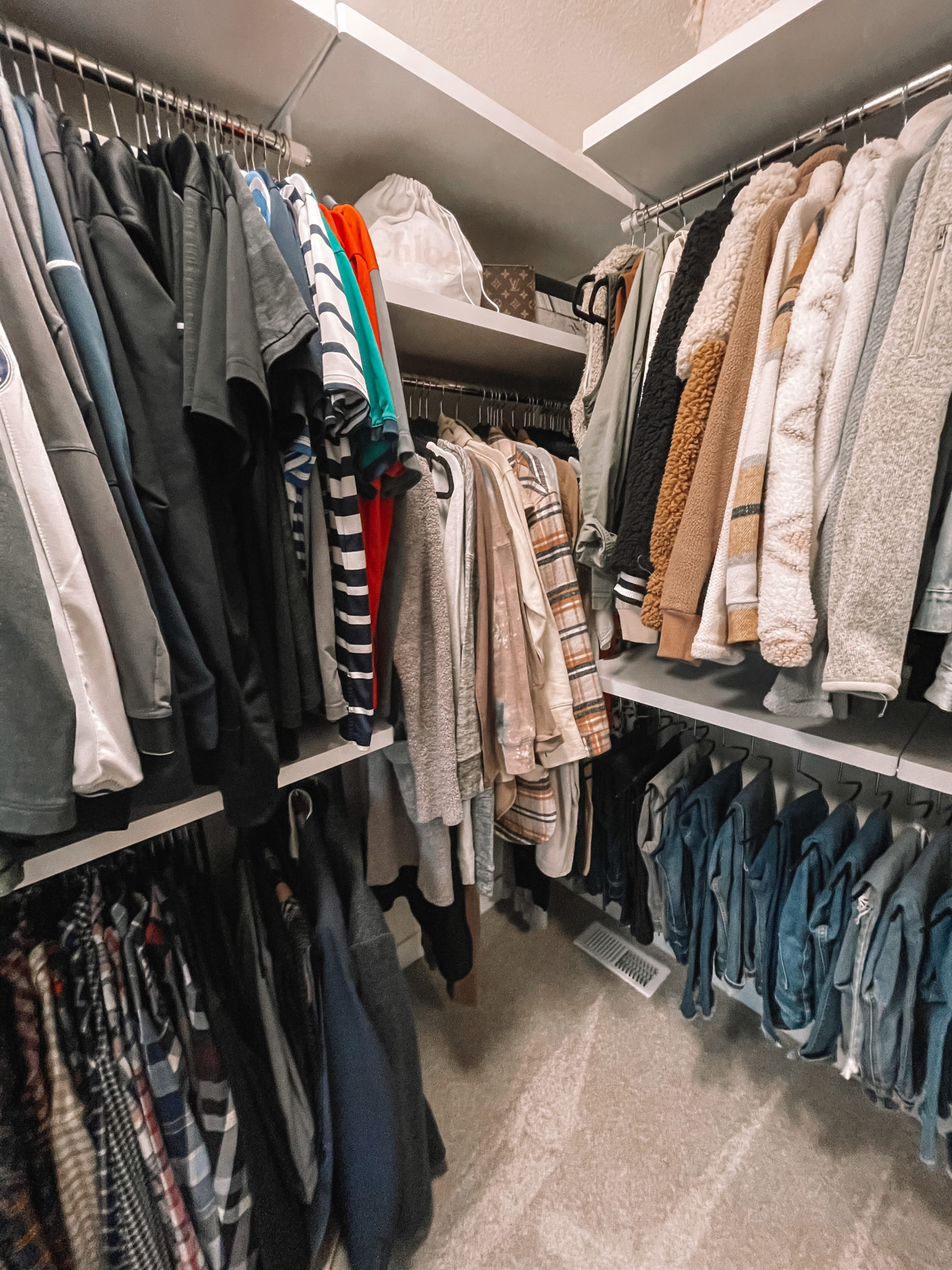 master closet makeover, the container store elfa, master closet organization, elfa decor master closet