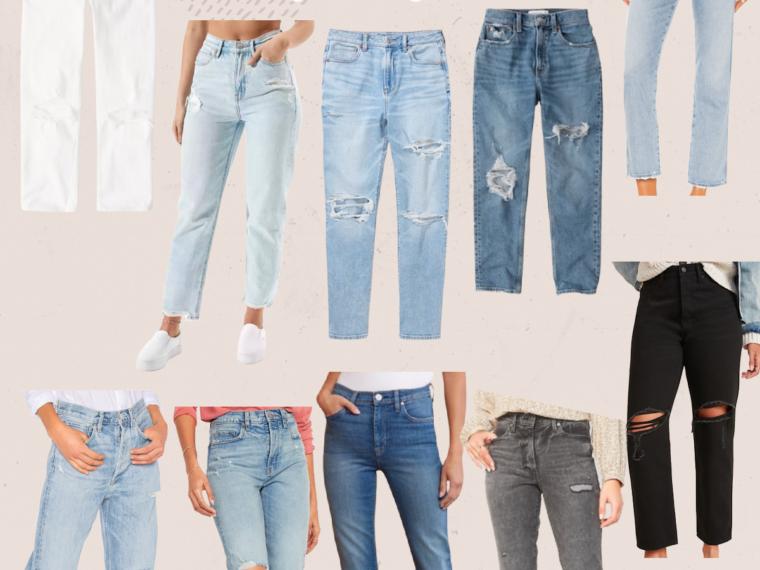 straight leg jeans, mom jeans, boyfriend jeans