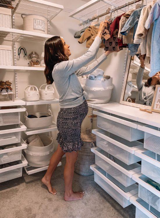 nursery closet, nursery closet organization, baby closet, nursery elfa closet, the container store closet