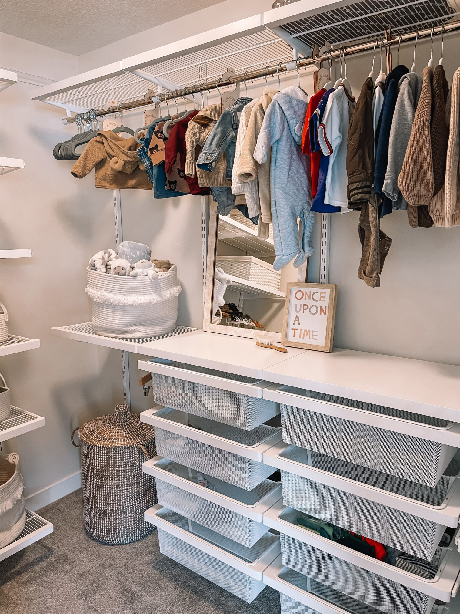 nursery elfa closet system, nursery closet, nursery closet organization, the container store closet, the container store nursery closets