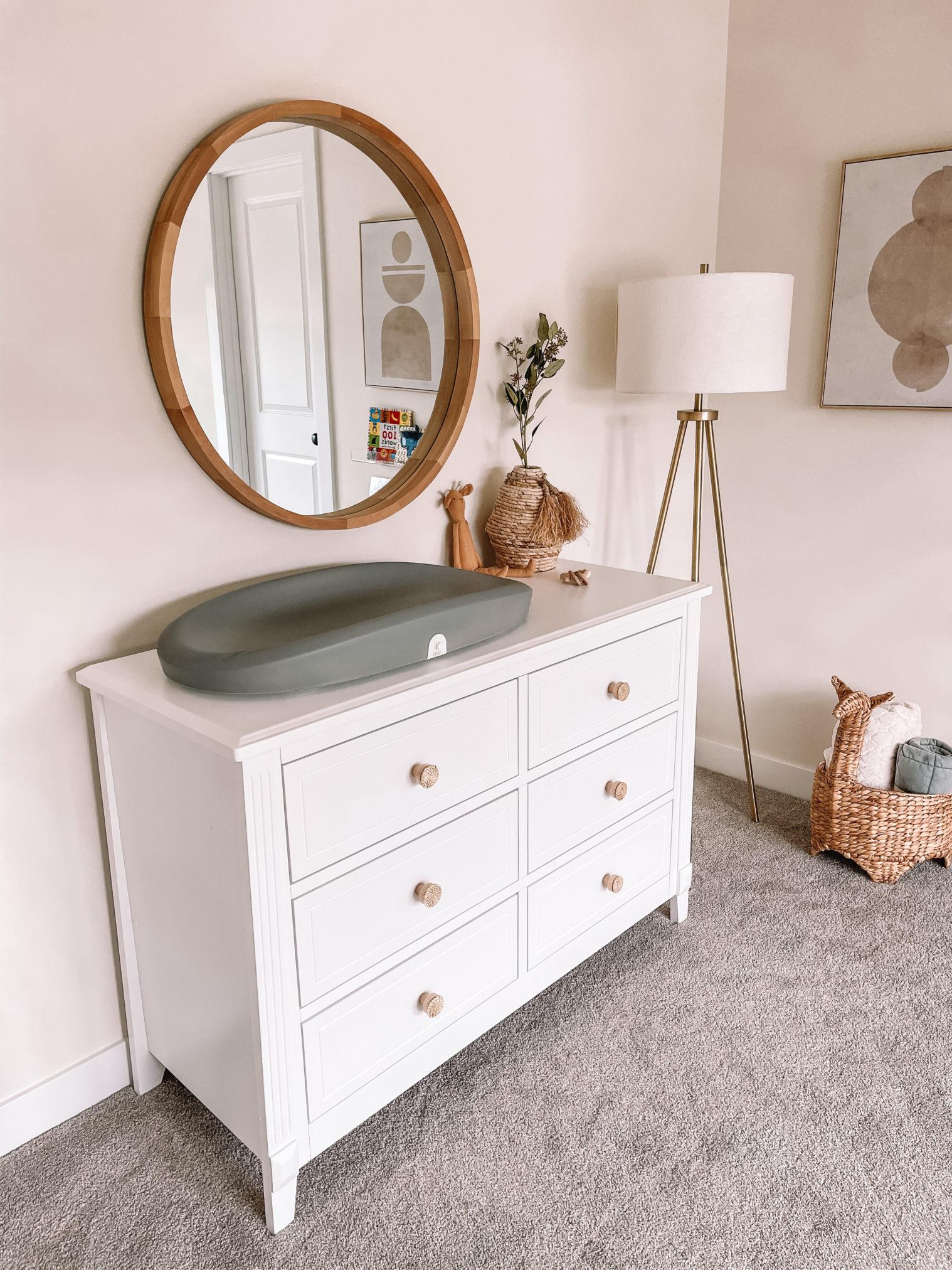 target nursery furniture, nursery decor, nursery mirror, nursery dresser, nursery changing table scale