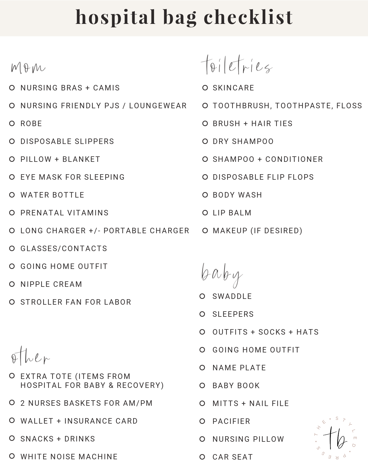 hospital bag checklist, what to pack in your hospital bag, baby hospital bag
