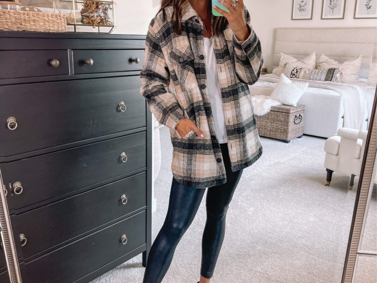 nsale in stock favorites, plaid shacket, Spanx faux leather leggings outfit